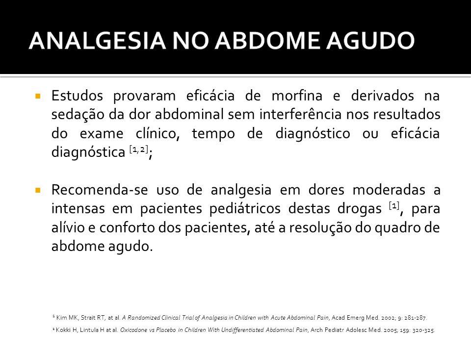 Estudos provaram eficácia de morfina e derivados na sedação da dor abdominal sem interferência nos resultados do exame clínico, tempo de diagnóstico ou eficácia diagnóstica [1,2];